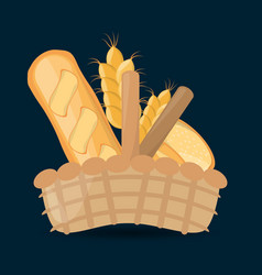 Wicker basket with fresh bread wheat vector