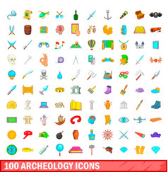 100 archeology icons set cartoon style vector