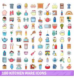 100 kitchen ware icons set cartoon style vector