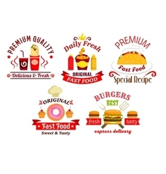 Fast food sandwich drink and dessert badges vector