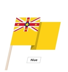 Niue ribbon waving flag isolated on white vector