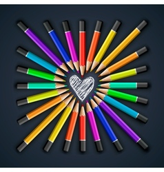 Colored pencils heart shape vector image
