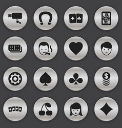 set of 16 editable gambling icons includes vector image