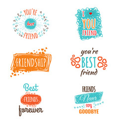 Friendship logos set with text labels vector