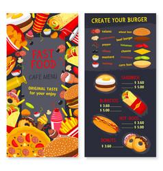 menu set for fast food snacks and desserts vector image