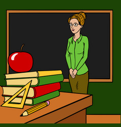 Teacher woman in classroom cartoon vector