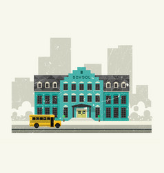 school and yellow bus vector image