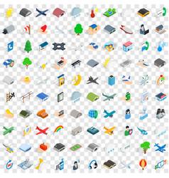 100 flight aviation icons set isometric 3d style vector