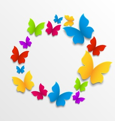 Spring card with colorful butterflies circle vector image