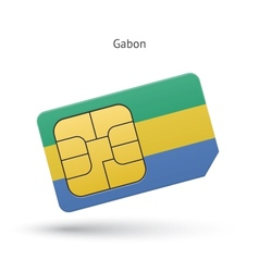 Gabon mobile phone sim card with flag vector