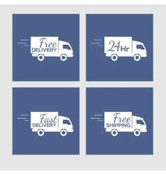 Set of icons with delivery car on square vector
