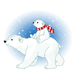 polar bear mom and baby vector image