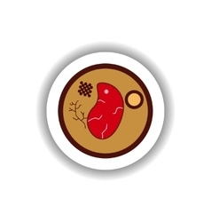 Stylish paper sticker steak on a plate vector