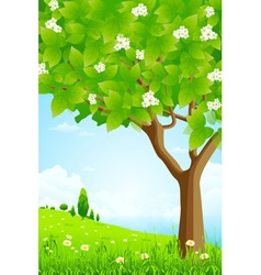 Trees Flowers Clouds and Sea vector image