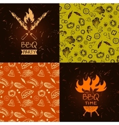 Set of lettering hand drawn logo with fire vector image