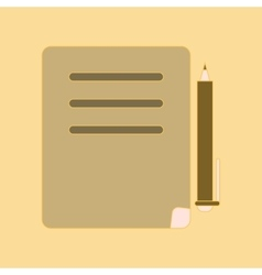Flat icon with thin lines notebook pen vector