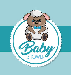 baby shower card with sheep vector image vector image