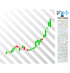 Candlestick chart growth acceleration flat icon vector