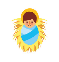 Cartoon cute baby jesus christ in the crib vector