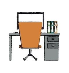 Cartoon worplace desktop computer books chair vector