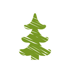 christmas tree with white line vector image