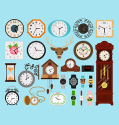Clocks icons collection vector