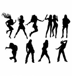 dancing girls silhouette vector image vector image
