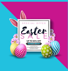 easter sale with color painted egg vector image