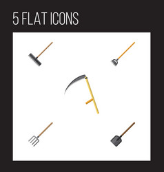 Flat icon garden set of shovel tool harrow and vector