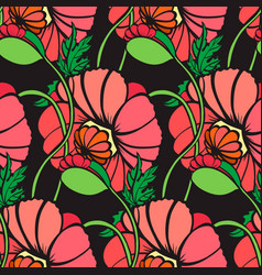 hand drawn poppy flower vector image vector image