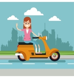 Happy woman glasses riding scooter urban vector