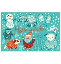 Hello winter card in cartoon style vector