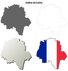 Indre-et-loire centre outline map set vector