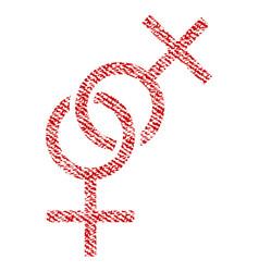 Lesbian love symbol fabric textured icon vector