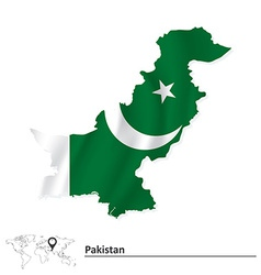 Map of pakistan with flag vector