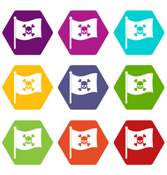 pirate flag icon set color hexahedron vector image