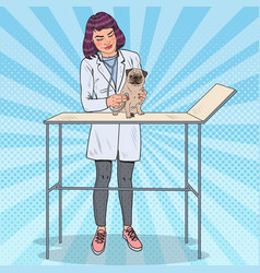 pop art female vet examining pug dog vector image