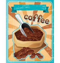 Poster with a bag of coffee beans in retro style vector image vector image