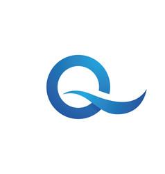 Q letter wave logo template vector