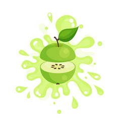 Sliced green apple juice splashing colorful fresh vector