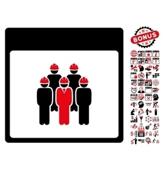 Staff calendar page flat icon with bonus vector