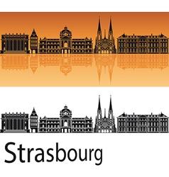 Strasbourg skyline in orange background vector