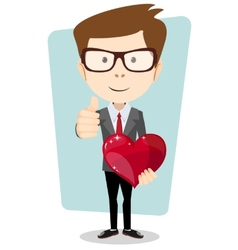 Student in costume gives his beloved heart vector image vector image