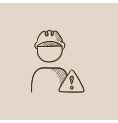 Worker with caution sign sketch icon vector