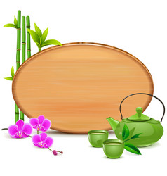 Wooden board with green teapot vector