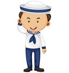 Sailor in white and blue outfit vector