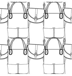 fashion women handbag for coloring book black and vector image