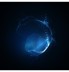 3d illuminated abstract shape of glowing particles vector