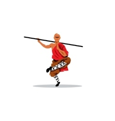 Shaolin monk with his staff vector