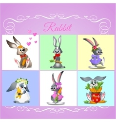 Set of six rabbits with different characters vector